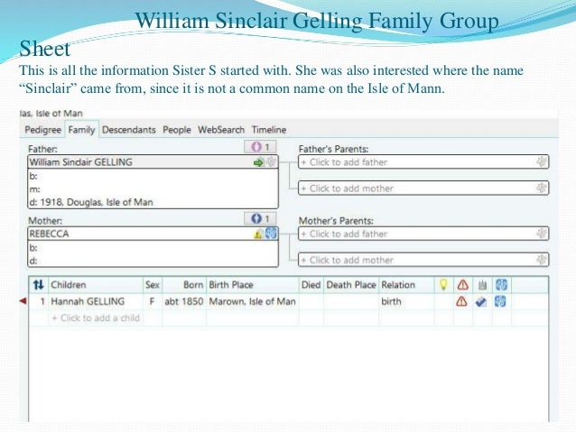 building a family tree from online sources