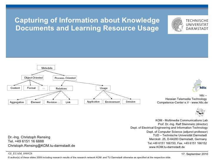 Capturing of Information about Knowledge Documents and Learning Resource Usage Dr.-Ing. Christoph Rensing Tel. +49 6151 16...