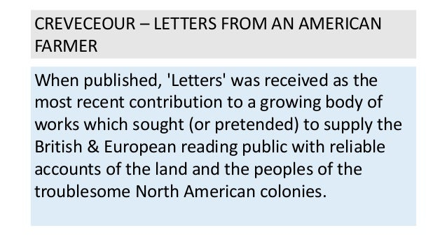 crevecoeur letters from an american farmer essay