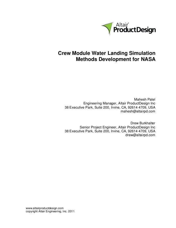 Crew Module Water Landing Simulation                               Methods Development for NASA                           ...