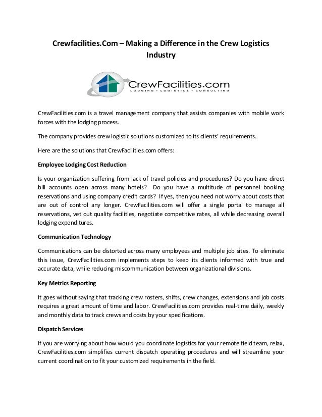 Crewfacilities.Com – Making a Difference in the Crew Logistics Industry CrewFacilities.com is a travel management company ...