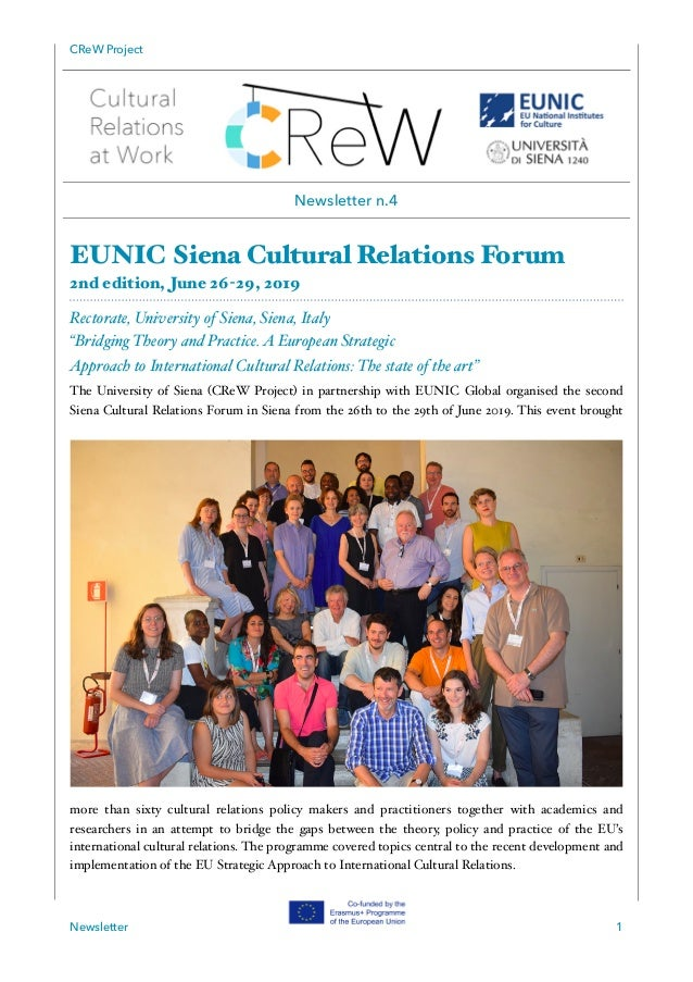 CReW Project EUNIC Siena Cultural Relations Forum 2nd edition, June 26-29, 2019 Rectorate, University of Siena, Siena, Ita...