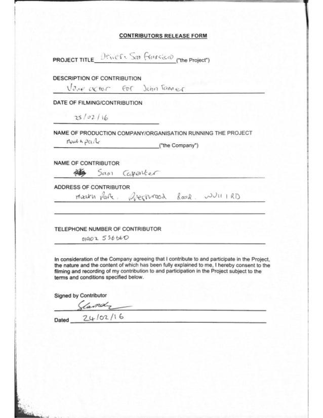 Contributors release forms for radio production altavistaventures Gallery