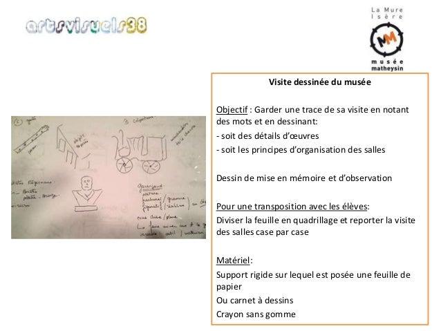 Visite dessinée du musée  Objectif : Garder une trace de sa visite en notant  des mots et en dessinant:  - soit des détail...