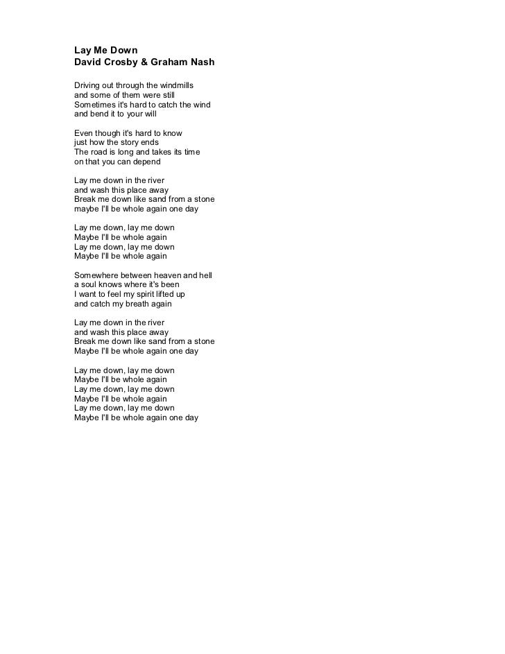 Lyric lyrics to down to the river : Crhp 5 the double cd lyrics
