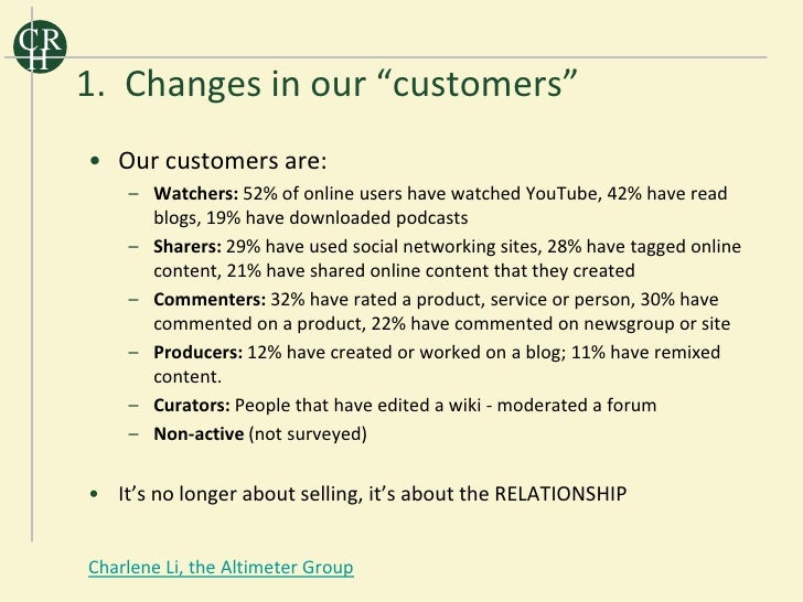 """CR H      1. Changes in our """"customers""""      • Our customers are:          – Watchers: 52% of online users have watched Yo..."""