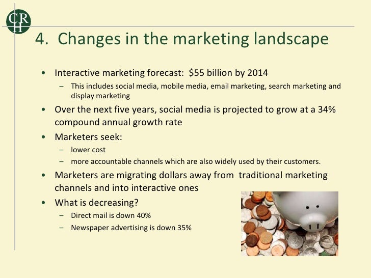 CR H      4. Changes in the marketing landscape      • Interactive marketing forecast: $55 billion by 2014          – This...