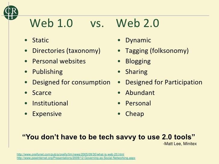 CR H           Web 1.0                                    vs. Web 2.0       •    Static                                   ...