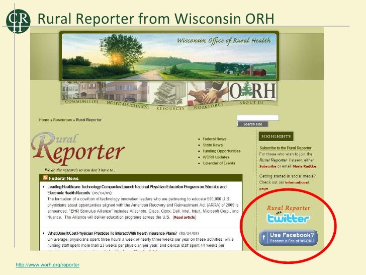 C R Rural Reporter from Wisconsin ORH H      http://www.worh.org/reporter