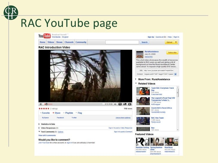 CR H      RAC YouTube page