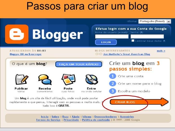 Passos para criar um blog