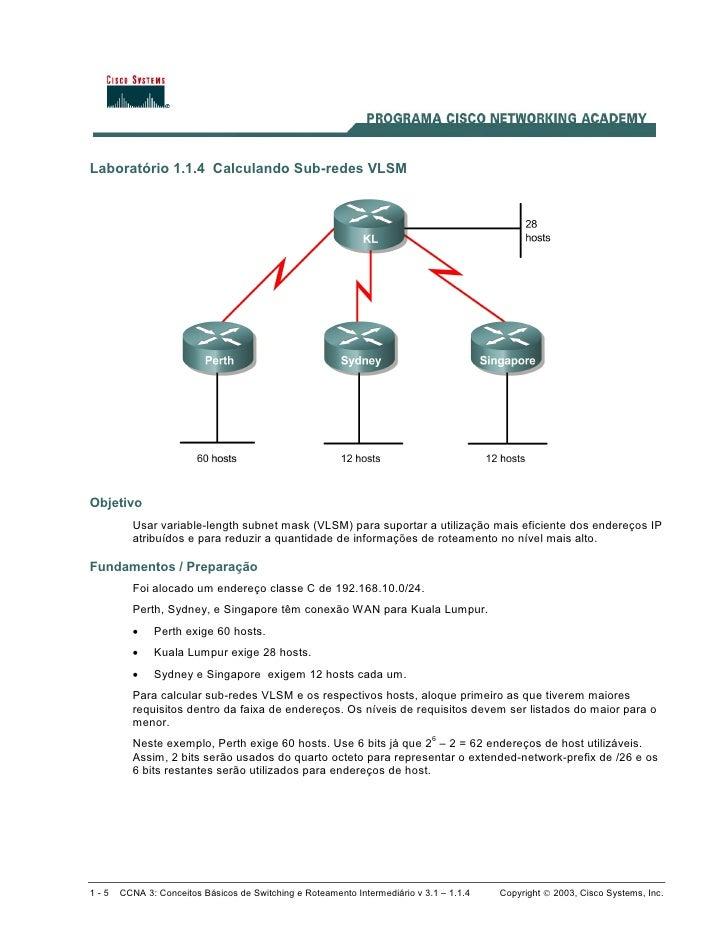 Laboratório 1.1.4 Calculando Sub-redes VLSM     Objetivo         Usar variable-length subnet mask (VLSM) para suportar a u...