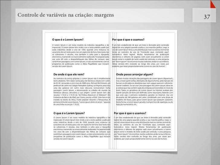 Controle de variáveis na criação: margens   37