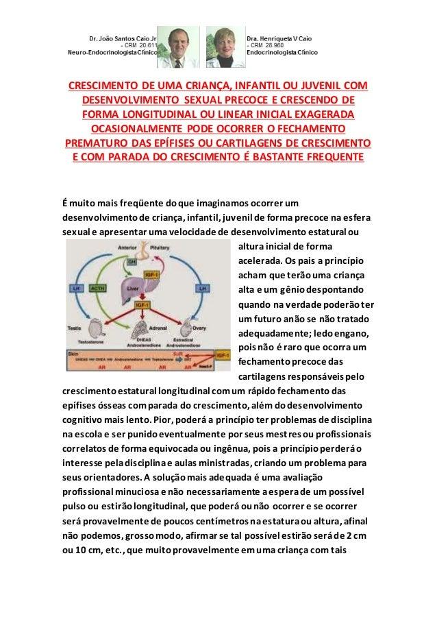 CRESCIMENTO DE UMA CRIANÇA, INFANTIL OU JUVENIL COM DESENVOLVIMENTO SEXUAL PRECOCE E CRESCENDO DE FORMA LONGITUDINAL OU LI...