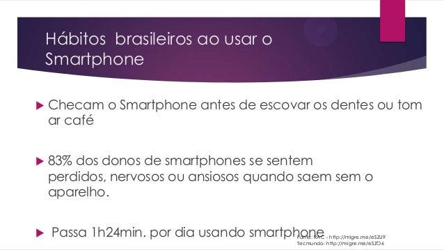 Hábitos brasileiros ao usar oSmartphone Checam o Smartphone antes de escovar os dentes ou tomar café 83% dos donos de sm...