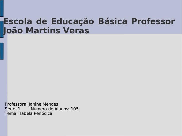 Escola de Educação Básica Professor  João Martins Veras Professora: Janine Mendes Série: 1  Número de Alunos: 105 Tema: Ta...