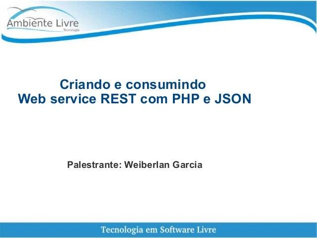 Criando e consumindo Web service REST com PHP e JSON Palestrante: Weiberlan Garcia