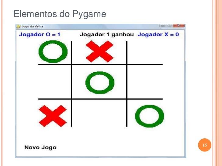 Elementos do Pygame<br /><ul><li>Clock</li></ul>O clock é um elemento muito importante de qualquer jogo, pois é este módul...