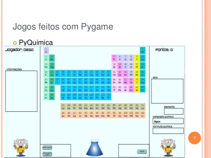 Jogos feitos com Pygame<br /><ul><li>PyQuimica</li></ul>7<br />