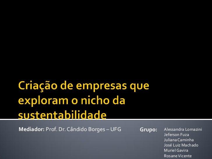 Mediador: Prof. Dr. Cândido Borges – UFG   Grupo:   Alessandra Lomazini                                                   ...