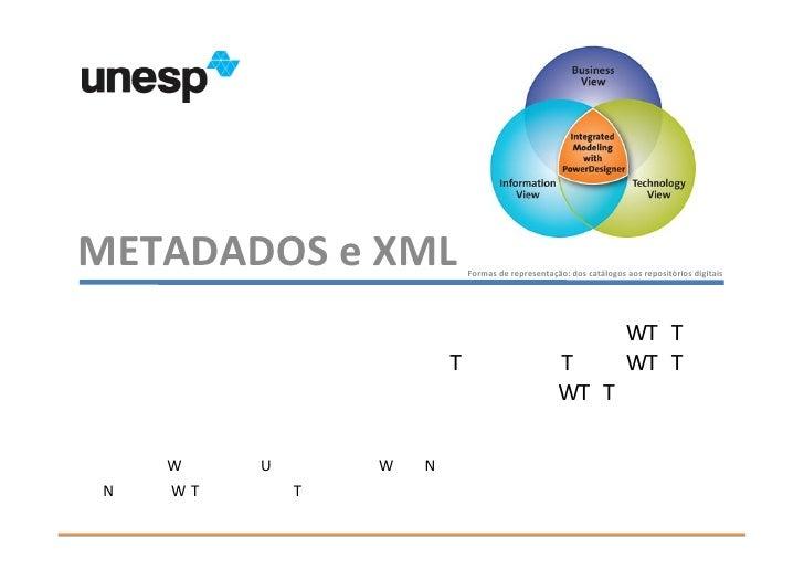 METADADOS e XML                                    Formas de representação: dos catálogos aos repositórios digitais       ...