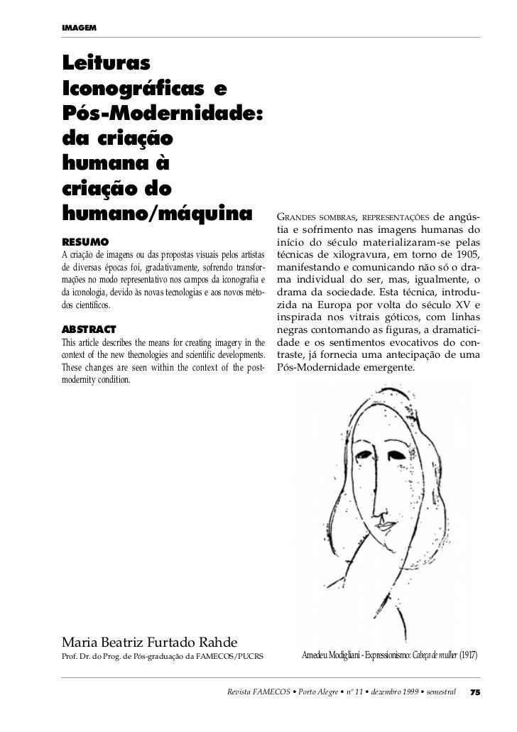 IMAGEMLeiturasIconográficas ePós-Modernidade:da criaçãohumana àcriação dohumano/máquina                                   ...