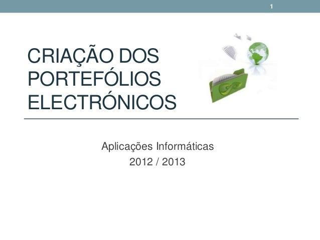 1CRIAÇÃO DOSPORTEFÓLIOSELECTRÓNICOS     Aplicações Informáticas           2012 / 2013
