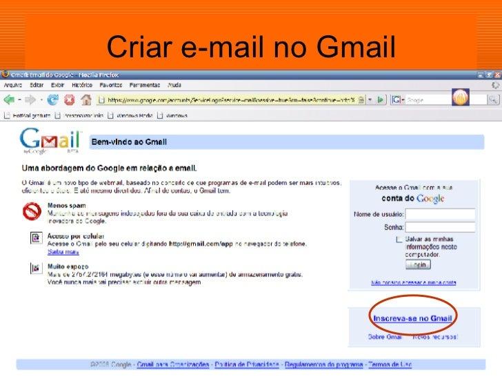 Criar e-mail no Gmail