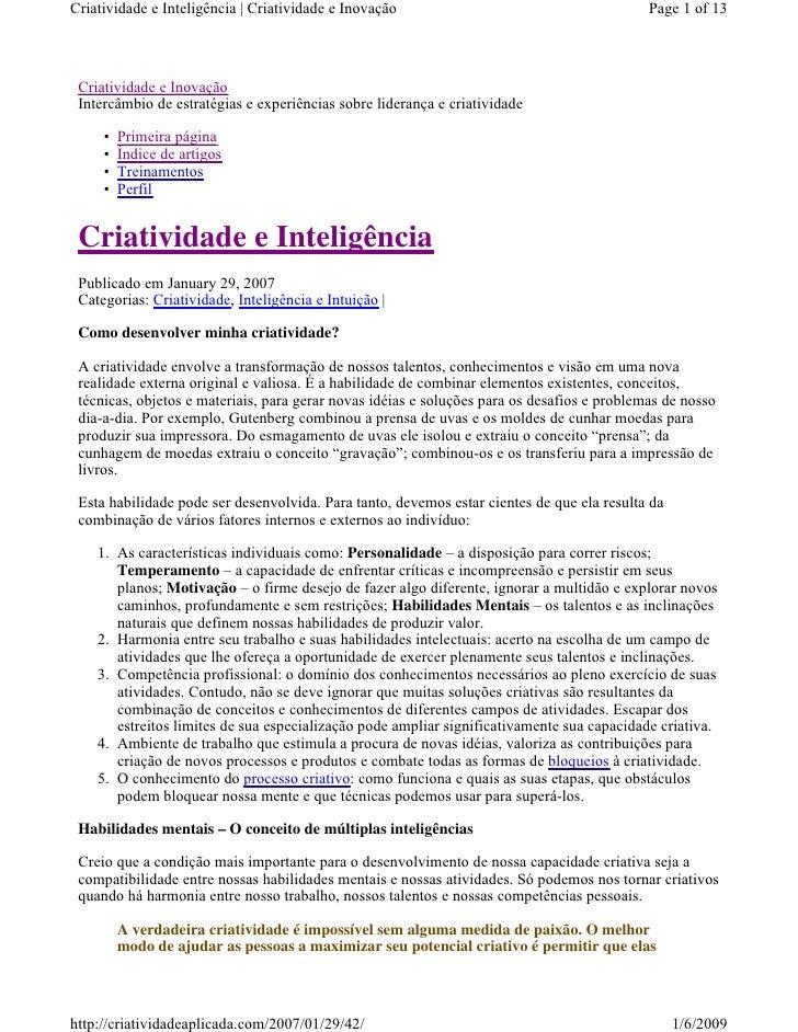 Criatividade e Inteligência | Criatividade e Inovação                                        Page 1 of 13      Criatividad...
