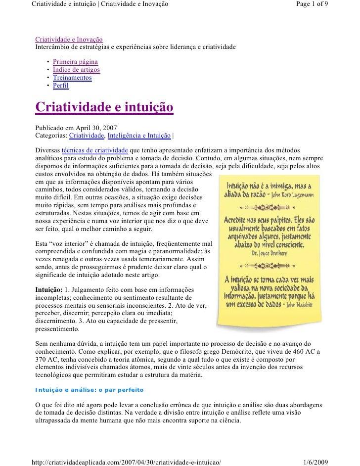 Criatividade e intuição | Criatividade e Inovação                                           Page 1 of 9      Criatividade ...