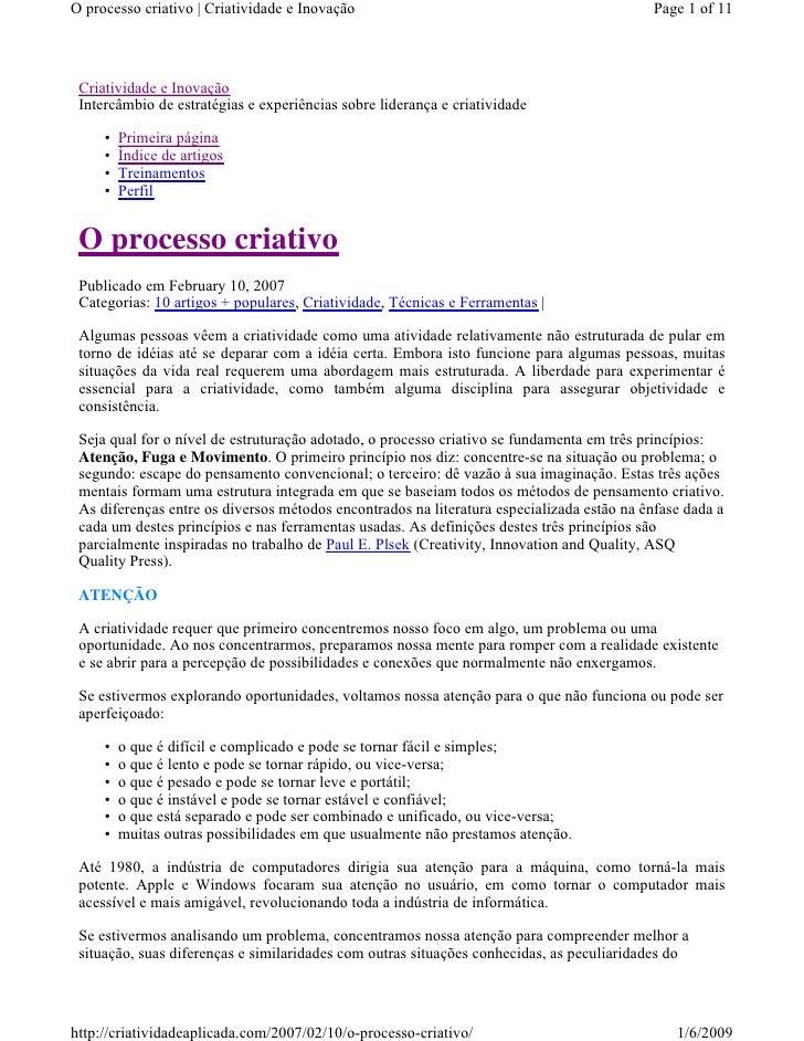 O processo criativo | Criatividade e Inovação                                              Page 1 of 11      Criatividade ...