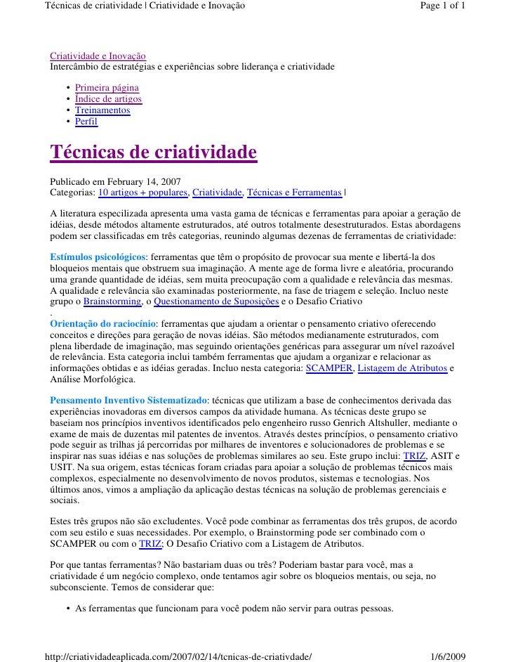 Técnicas de criatividade | Criatividade e Inovação                                           Page 1 of 1      Criatividade...