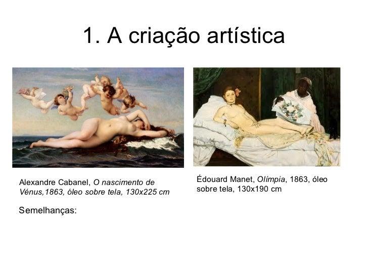 1. A criação artísticaAlexandre Cabanel, O nascimento de        Édouard Manet, Olímpia, 1863, óleoVénus,1863, óleo sobre t...