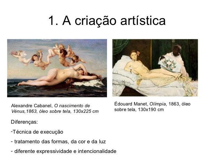 1. A criação artísticaAlexandre Cabanel, O nascimento de          Édouard Manet, Olímpia, 1863, óleoVénus,1863, óleo sobre...