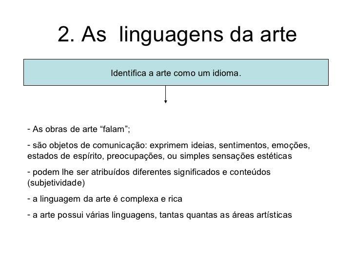"""2. As linguagens da arte                     Identifica a arte como um idioma.- As obras de arte """"falam"""";- são objetos de ..."""