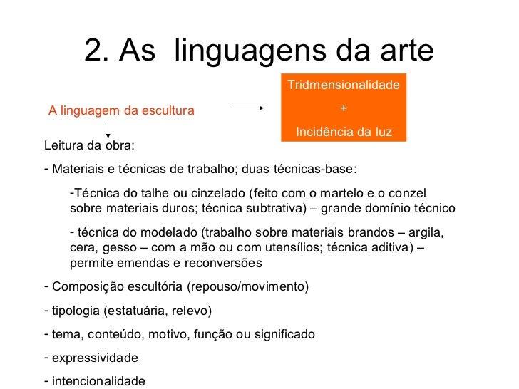 2. As linguagens da arte                                          TridmensionalidadeA linguagem da escultura              ...