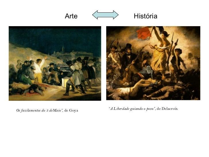 "Arte                      HistóriaOs fuzilamentos do 3 deMaio"", de Goya   ""A Liberdade guiando o povo"", de Delacroix"