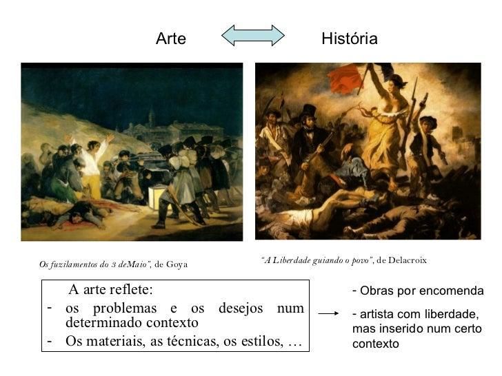 """Arte                      HistóriaOs fuzilamentos do 3 deMaio"""", de Goya   """"A Liberdade guiando o povo"""", de Delacroix    A ..."""