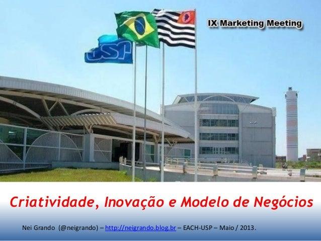 Nei Grando (@neigrando) – http://neigrando.blog.br – EACH-USP – Maio / 2013. Criatividade, Inovação e Modelo de Negócios