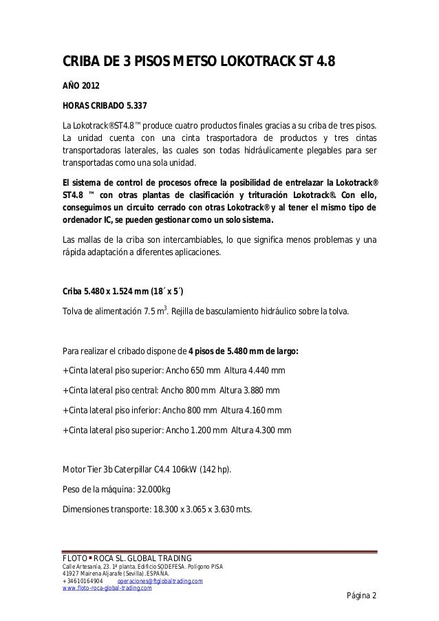 CRIBA DE 3 PISOS Y RETORNO  METSO ST 4.8 Slide 2