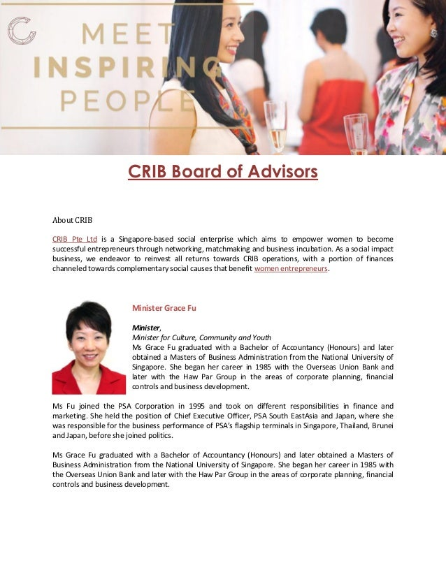 CRIB Board of Advisors About CRIB is a Singapore-based social enterprise which aims to empower women to becomeCRIB Pte Ltd...