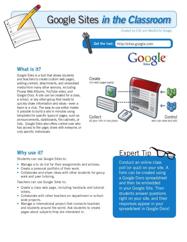 What is it? Google Sites is a tool that allows students and teachers to create custom web pages, adding content, attachmen...