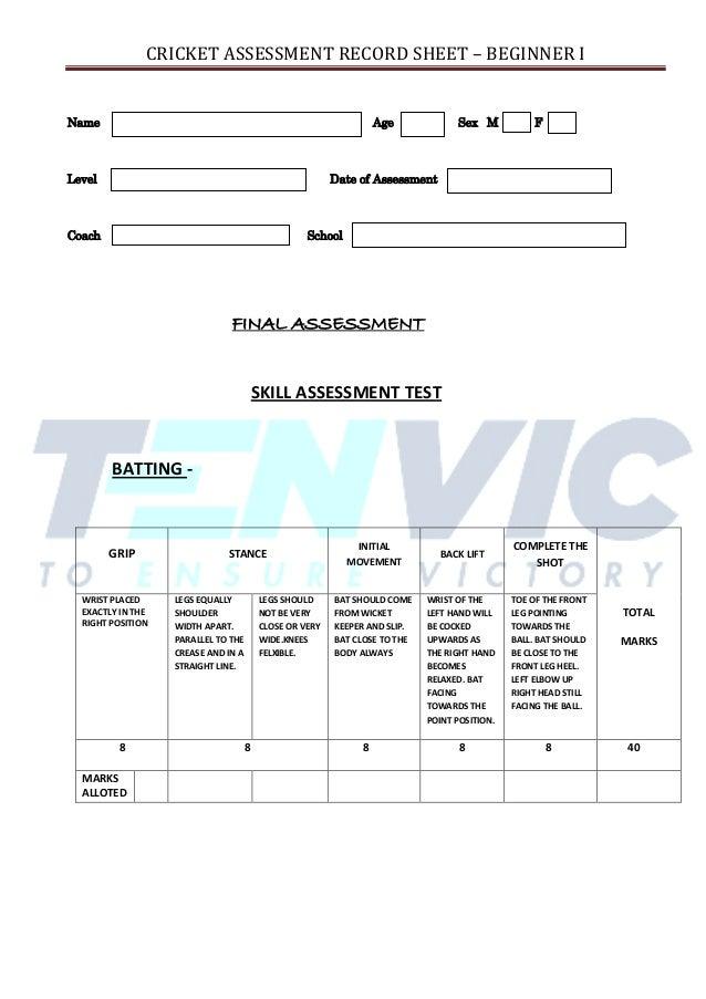 Skills Essment Template | Cricket Assessment Sheet Batting Bowling Amp Fielding