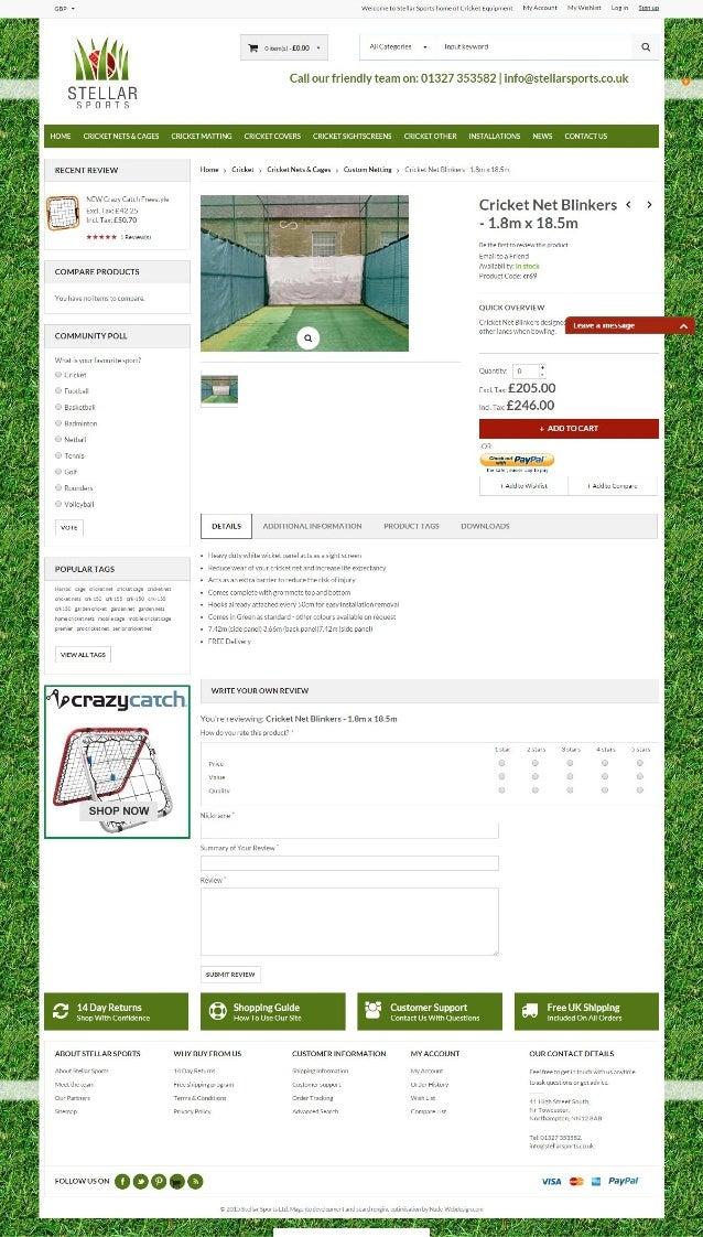 Cricket net blinkers   1.8m x 18.5m - custom netting - cricket nets & cages - cricket - stellar sports