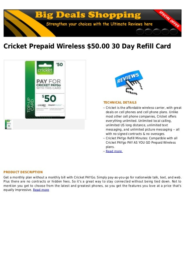 Cricket prepaid wireless $50 00 30 day refill card