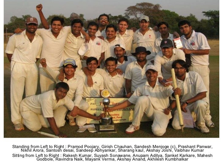 Standing from Left to Right : Pramod Poojary, Girish Chauhan, Sandesh Menjoge (c), Prashant Panwar, Nikhil Arora, Santosh ...