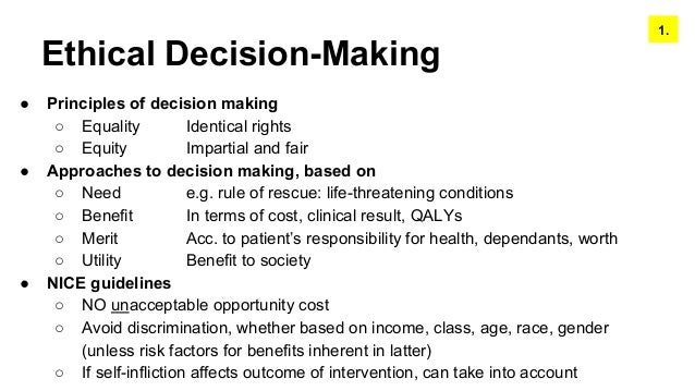 Addressing Ethics in Decision Making