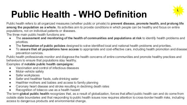 Notes On Public Health