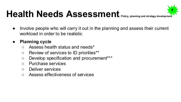 medical needs assessment of persons with How do you conduct a needs assessment  of only a few persons who may not be  improvement needs needs assessment should be conducted as a first.