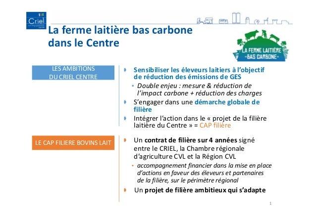 La ferme laitière bas carbone dans le Centre 1 LES AMBITIONS DU CRIEL CENTRE Sensibiliser les éleveurs laitiers à l'object...